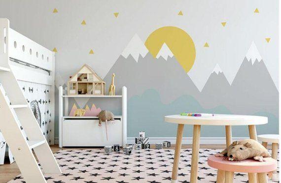 Hand Painted Cartoon Geometric Nursery Children Wallpaper Wall Mural, Grey Geometric Mountain with Sun & Stars Kid Children Room Wall Mural