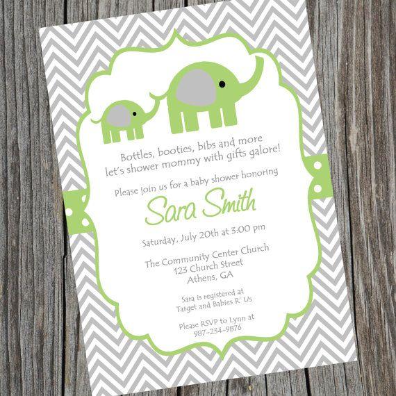 Elephant Invitation Green Elephant Invite Elephant Baby