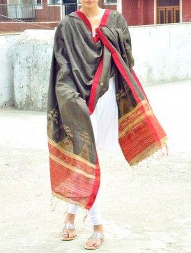 Charcoal Silk Jamdani Dupatta - Floweret