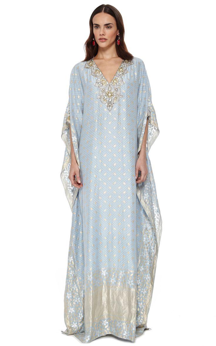 Badgley Mischka Light Blue Embroidered V-Neck Caftan by Badgley Mischka for Preorder on Moda Operandi