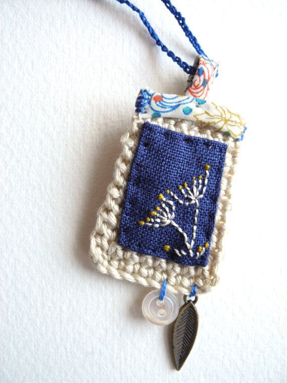 Embroidered flowers fibre art jewelry textile by giovabrusa