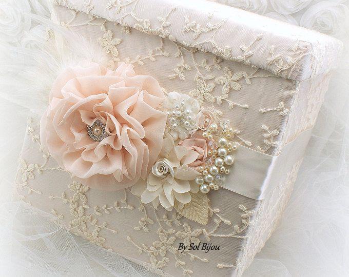 Caja de recuerdo boda rústica Blush marfil bronceado