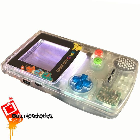 Custom Frontlit Nintendo Gameboy Color Pokemon for Retro Gaming in the dark Squirtle Charmander Bulbasaur Pokeball