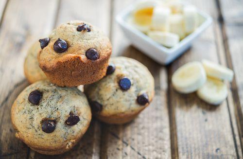 #Muffins aux #bananes et au #chocolat