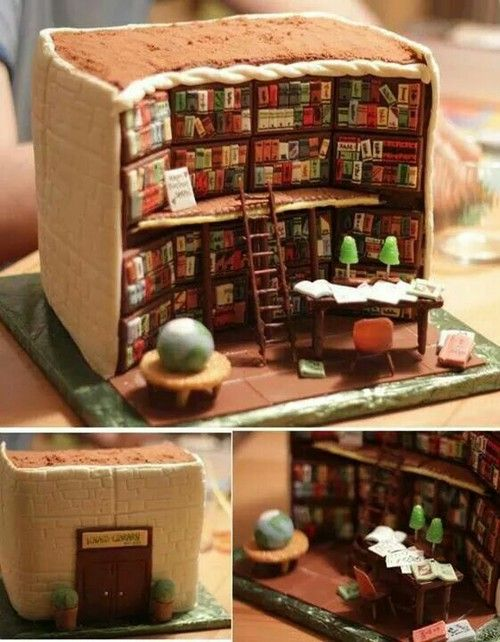 Amazing cake that looks like a library!