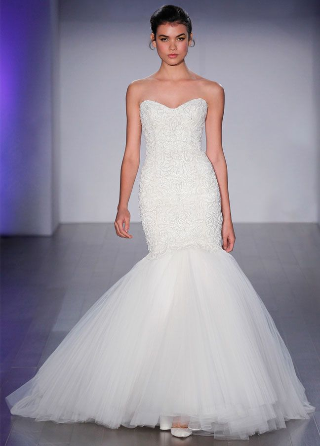 Ivory beaded laser cut elongated bodice, strapless sweetheart neckline, pleated tulle skirt, sweep train. Bridal Gowns, Wedding Dresses by Jim Hjelm Bridal - JLM Couture - Bridal Style jh8510 by JLM Couture, Inc.