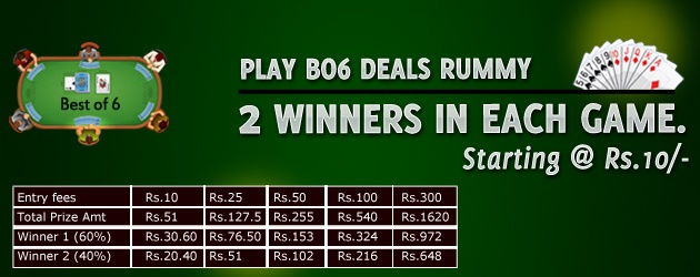 Rummy123 is favorite place of rummy lovers to play Online Rummy Games. Signing up is easy and you can play free games as well as cash games to win great prizes. The offers support you every step of the way. Join free and cash version of tournaments to win cash prizes.