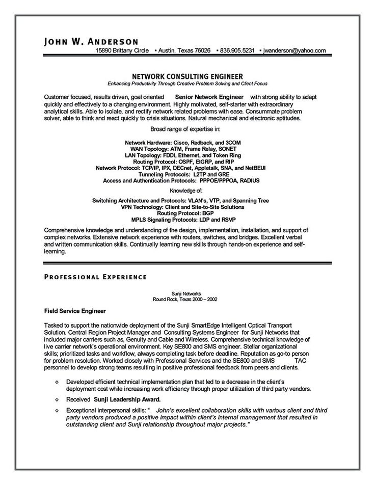 Hardware Engineer Resume Sample Network Engineer Resume Format