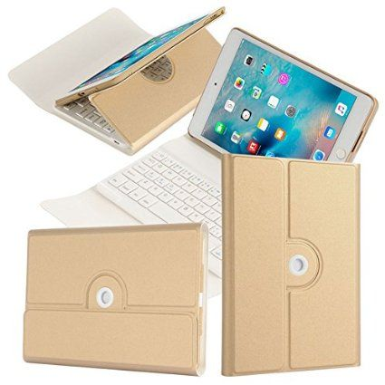 360 Degree Rotating Case with Removable Bluetooth Wireless Keyboard for iPad Mini 4 - Gold - New Release Tablets And Tablet Accessories