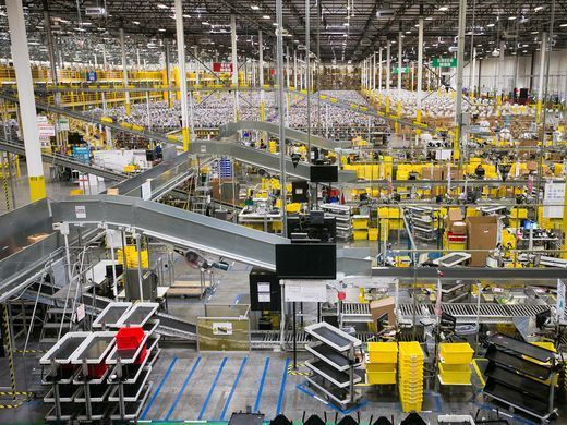 An Amazon fulfillment center, various locations: If