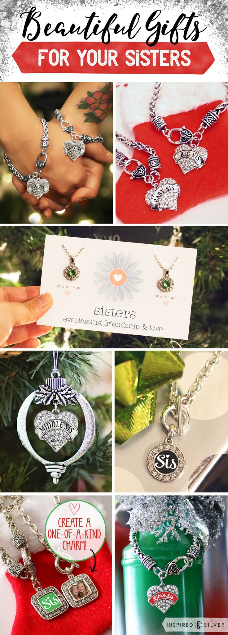 Do you love you sisters? Sisters share an unspoken bond throughout life.  only $10 each  #inspiredsilver now has matching sister bracelets for everyone in the family. Big Sis, Middle Sis, Little Sis, Baby sis and dont forget mom.