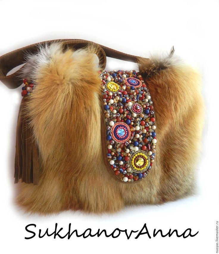 """Купить Сумка """"Лисонька-лиса2"""" - коричневый, светло-коричневый, рыжая лиса, сумка с лисой, лиса"""
