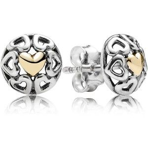 PANDORA Stud Earrings - Sterling Silver & 14k Gold My One True Love