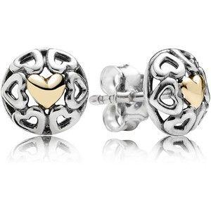 PANDORA Stud Earrings - Sterling Silver & 14k Gold My One True Love