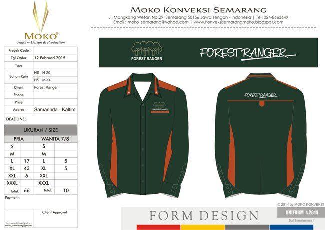 Model Seragam Forest Ranger, Samarinda - Kalimantan Timur - Indonesia. Kemeja Kerja Lapangan Lengan Panjang Warna Hijau Tua & Orange.