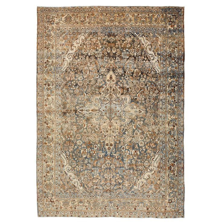 A central diamond medallion flanked by two anchor motifs and surrounded by a heavily decorated field is just visible through the timeworn ecru-and-teal field, a once saturated canvas of color becomes muted. Antique washed and sun-faded in Iran, this Sabideh vintage wool rug from Turkey is a one-of-a-kind composition, the organic reaction of the vegetable dyes creating an unpredictably beautiful and painterly result.<br/><br/>Due to its distressed nature, unevenness and i...
