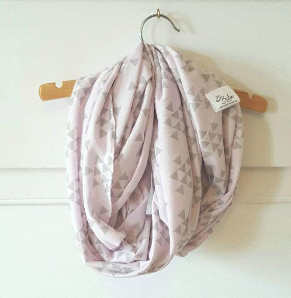 Light Pink and Grey Triangle Nursing Scarf// by GoBabe on Etsy