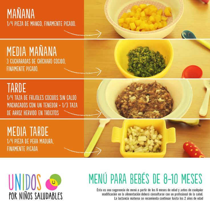 menu para bebes de 8 10 meses bebes pinterest
