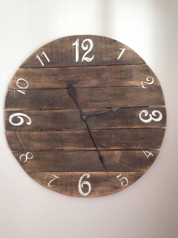Stained Wood Clock Number Clock Rustic Pallet