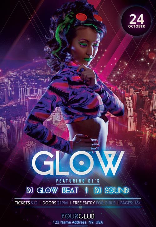 Neon Glow Party Free PSD Flyer Template - http://freepsdflyer.com/neon-glow-party-free-psd-flyer-template/ Enjoy downloading the Neon Glow Party Free PSD Flyer Template created by Stockpsd!   #Club, #Concert, #Dance, #Dj, #EDM, #Electro, #Gig, #Live, #Music, #Nightclub, #Party, #Sound