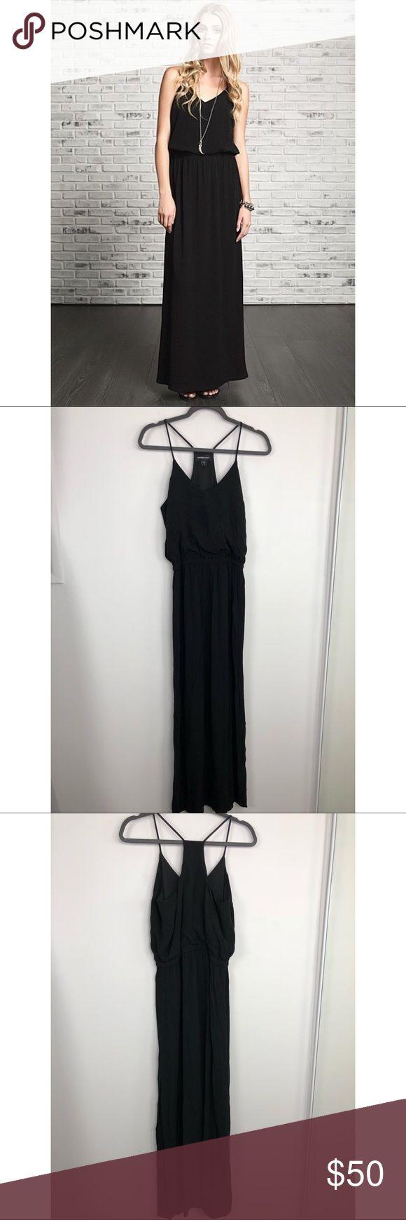 "Fifteen Twenty Black T-Back Maxi Dress Fifteen Twenty Black T-Back Maxi Dress.  Side Slit.  Approx 18"" armpit to armpit and 60"" length. Rayon.  Great condition.  D4. Fifteen Twenty Dresses Maxi"