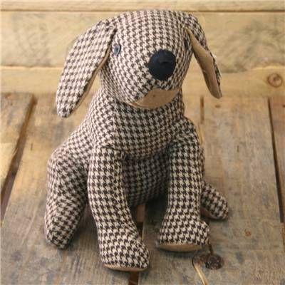 Houndstooth Dog Doorstop - Brown Fabric Door Stop