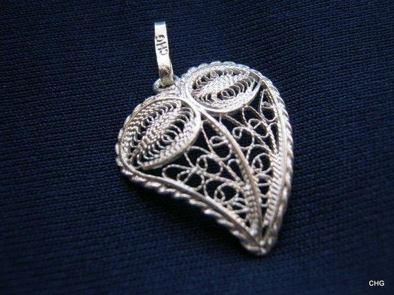 Wisiorek srebrny serce rękodzieło Malta upominek