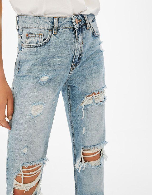 Ripped cigarette jeans - Bershka #ripped #cigarette #jeans #bershka