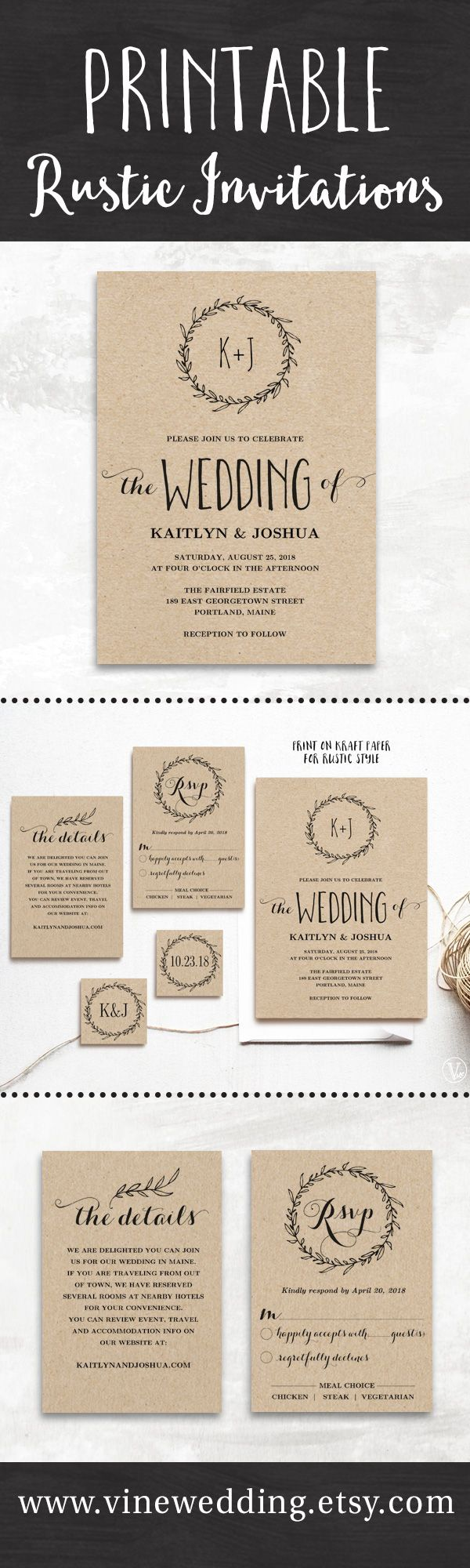 Beautiful rustic wedding invitations Editable instant download