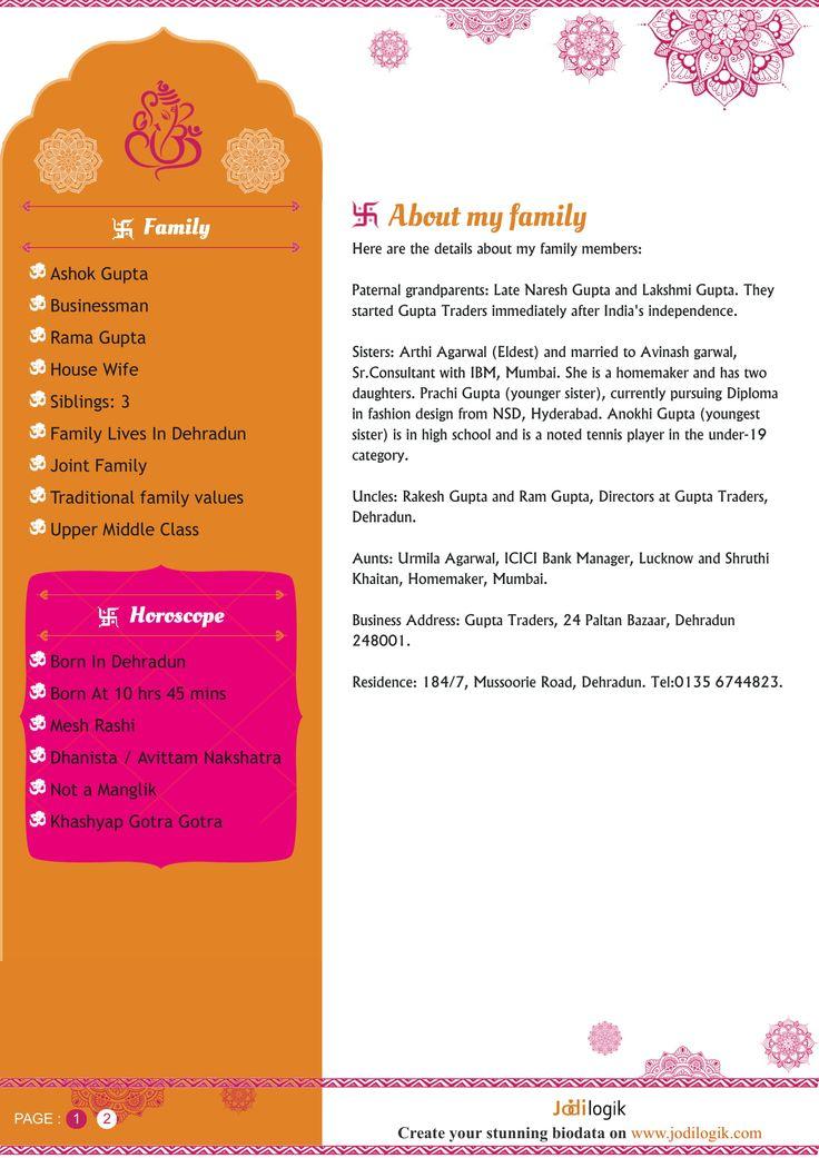 hindu matrimonial biodata