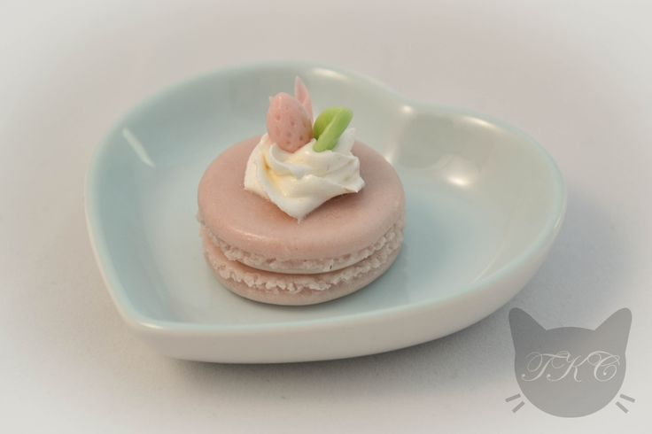 Larger size pastel pink macaroon for necklace. Handmade with love from cold porcelain clay. Topped with a generous serving of whipped cream and beautifully decorated. Available for purchase soon.