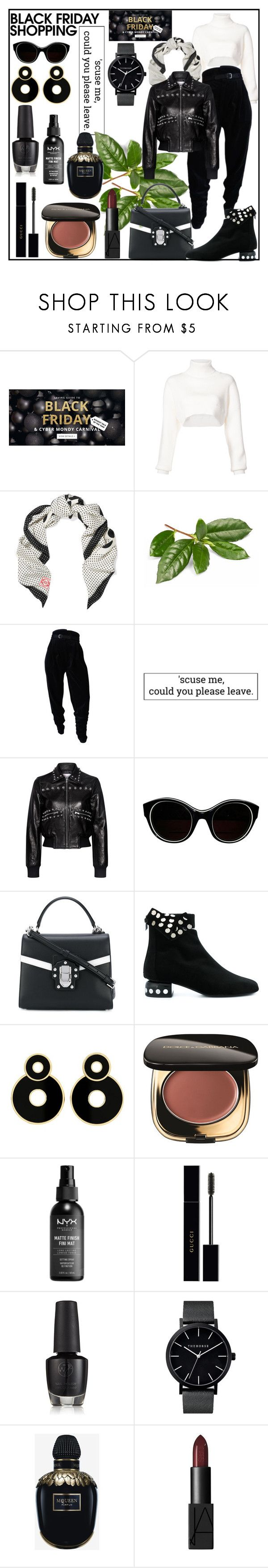 """Steal Those Deals: Black Friday"" by din-sesantadue ❤ liked on Polyvore featuring Alexandre Vauthier, Loewe, Versace, RED Valentino, Sonia Rykiel, Dolce&Gabbana, Pierre Hardy, NYX, Gucci and Alexander McQueen"