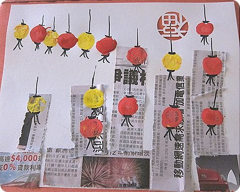 chinese lantern skylines:  use corks to stamp lanterns; sharpie for details; chinese newspaper for buidlings
