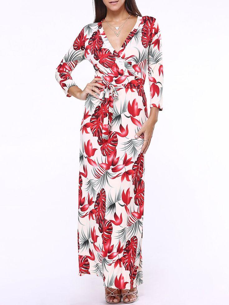 Mergulhando Floral Neck impressão Vestido com cinto Maxi (Vermelho,5XL) - Digbest Brasil