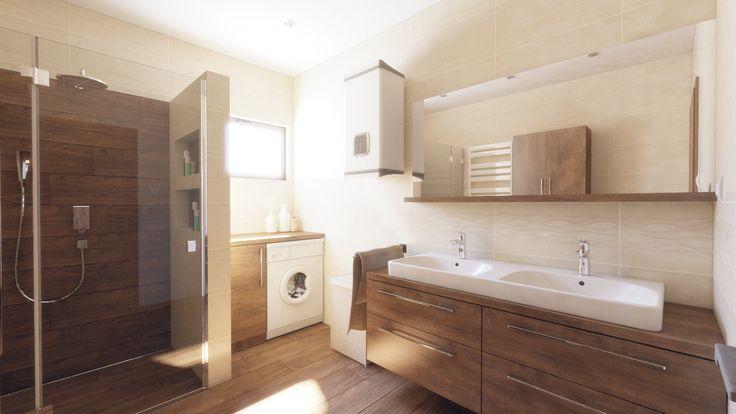 Moderná kúpeľňa v béžovo hnedej kombinácii. Dvojumývadlo na doske.