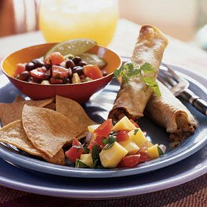 Vegetarian Taquitos #vegetarian: Vegetarian Taquito, Black Beans, Cooking Lights, Vegetarian Meals, Mango Salsa, Vegans Chee, Healthy Recipes, Weights Loss, Mexicans Recipes