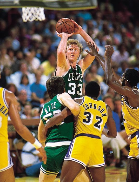 Larry Bird, one of the greatest pure shooters of all time. Look at that concentration!