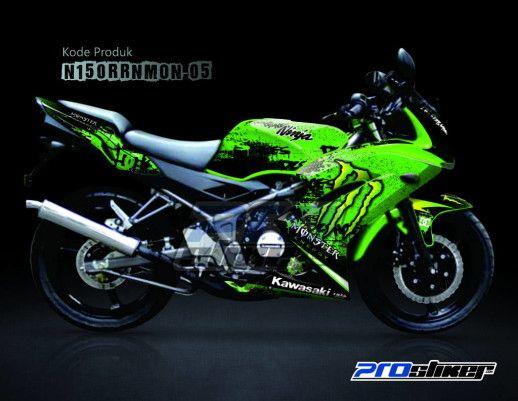Beau Striping Ninja 150 RR New Motif Monster Energy Green Yang Dipasang Pada Kawasaki  Ninja Warna Hijau