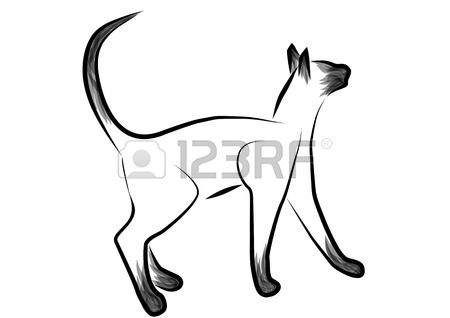 siamese cat outline abstract cat isolated on white Stock Vector