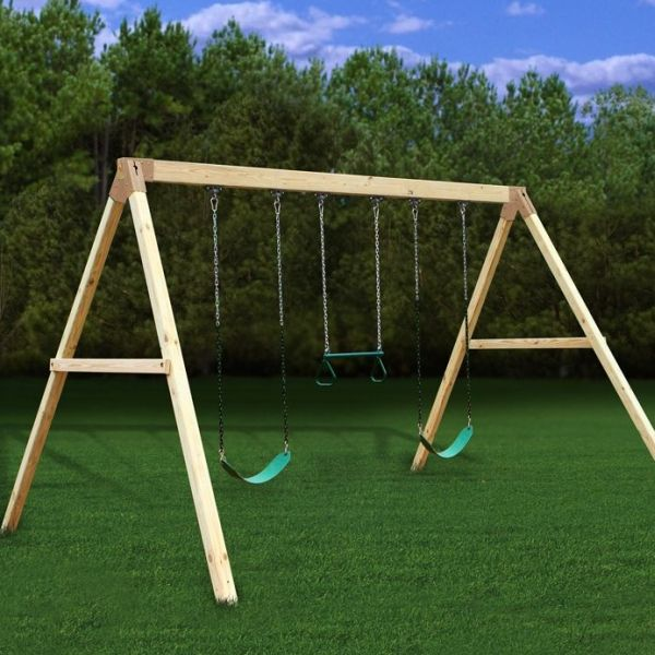 Backyard swing set kits for sturdy wood playsets that are for Building a wooden swing