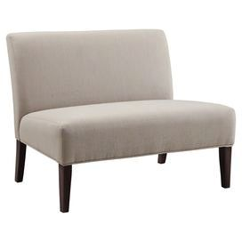"""A stylish addition to your living room seating group, this midcentury-inspired loveseat showcases gray upholstery and a rubberwood frame.    Product: LoveseatConstruction Material: Rubberwood and fabricColor: GrayFeatures:   18.5"""" Seat height ArmlessDeep seat Dimensions: 32.5"""" H x 40"""" W x 29.5"""" DAssembly: Assembly requiredCleaning and Care: Use professional cleaning materials and a clean cloth"""