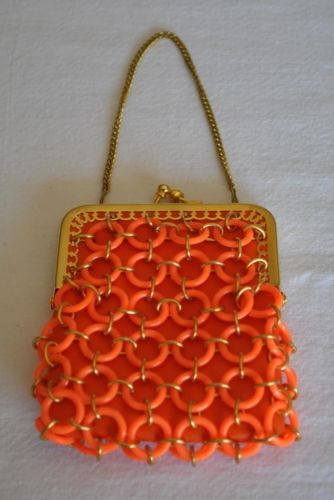 RARE Vintage Delill Coral Circle Gold Chain Mini Handbag Purse Made in Italy
