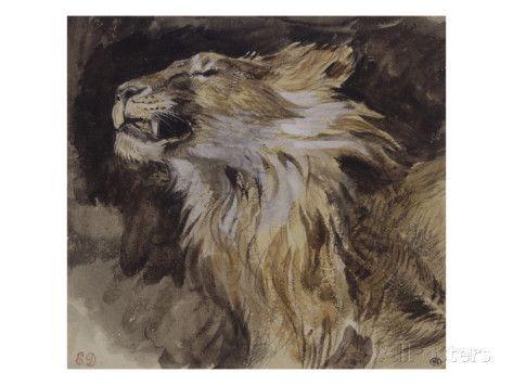 T? de lion rugissant reproduction procédé giclée