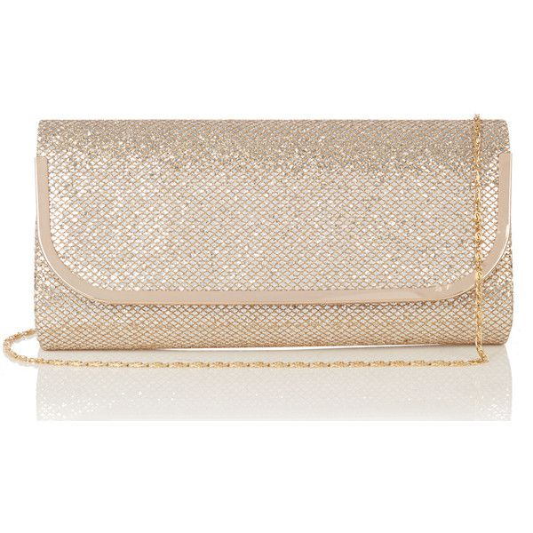 OASIS Cahir Glitter Clutch ($19) ❤ liked on Polyvore featuring bags, handbags, clutches, metallics, metal purse, glitter purse, glitter handbag, glitter clutches and oasis handbags