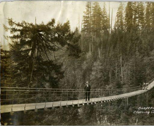 Capilano Suspension Bridge, 1919. (Photo from Capilano Timber Company fonds, via UBC Library Digital Collections)