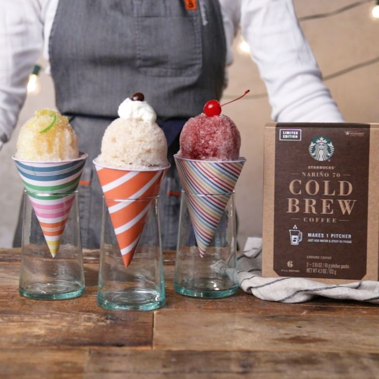 The coolest way to have your coffee this summer is in a sno cone. From classic coffee to sweet cherry, these frozen treats are a must. For more delicious coffee recipes, get the TM x Starbucks coffee recipe book! http://sbux.co/2qCujPi [sponsored]