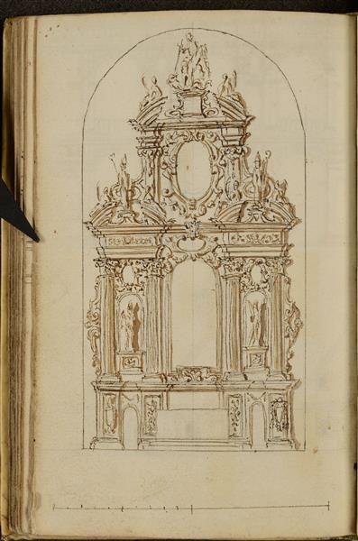 Hauptaltar der Kathedrale von Chelmza  Gisleni, Giovanni Battista (1600-1672)|Hersteller  Chiaveri, Gaetano (1689-1770) historische Zuschreibung|Hersteller  um 1650  Kupferstich-Kabinett
