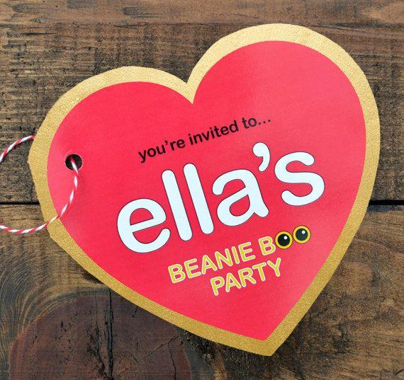 Beanie Boo Party Invitation, Thank You & Game   Digital File   5x5 Heart Birthday Invitation   Customized Printable PDF or JPEG File