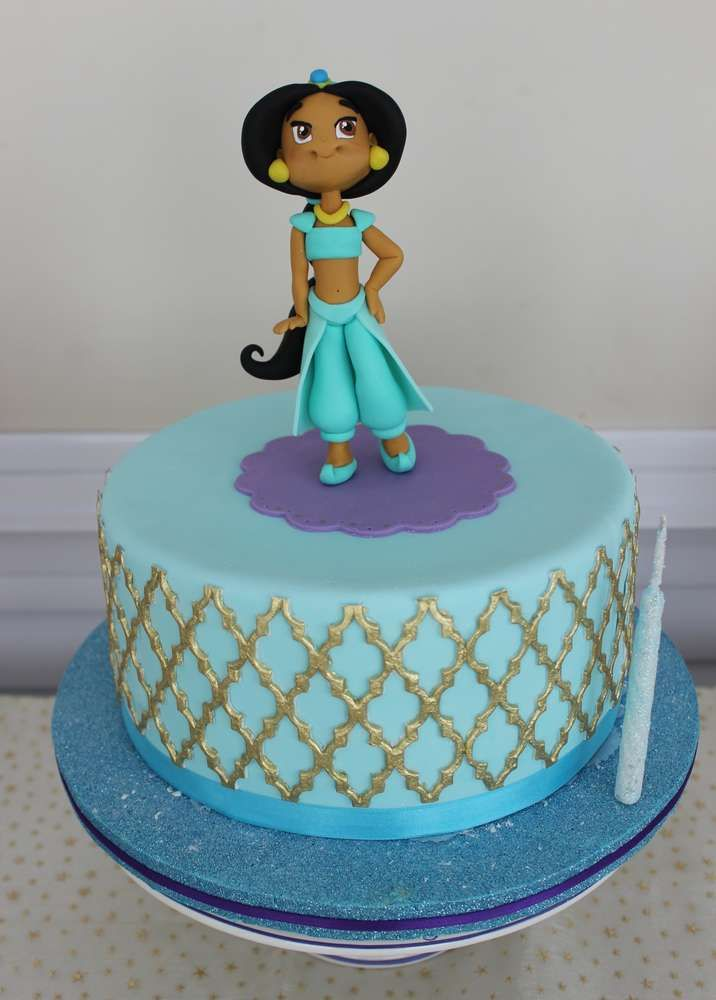 Such a pretty cake at a Jasmine birthday party! See more party planning ideas at CatchMyParty.com!