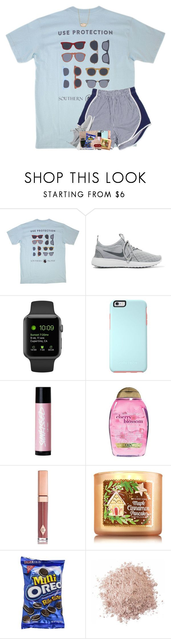 """sometimes you have to let go of people. not because you don't care, because they don't."" by theblonde07 ❤ liked on Polyvore featuring Southern Proper, NIKE, Urban Decay, OtterBox, Organix, Charlotte Tilbury and Kendra Scott"